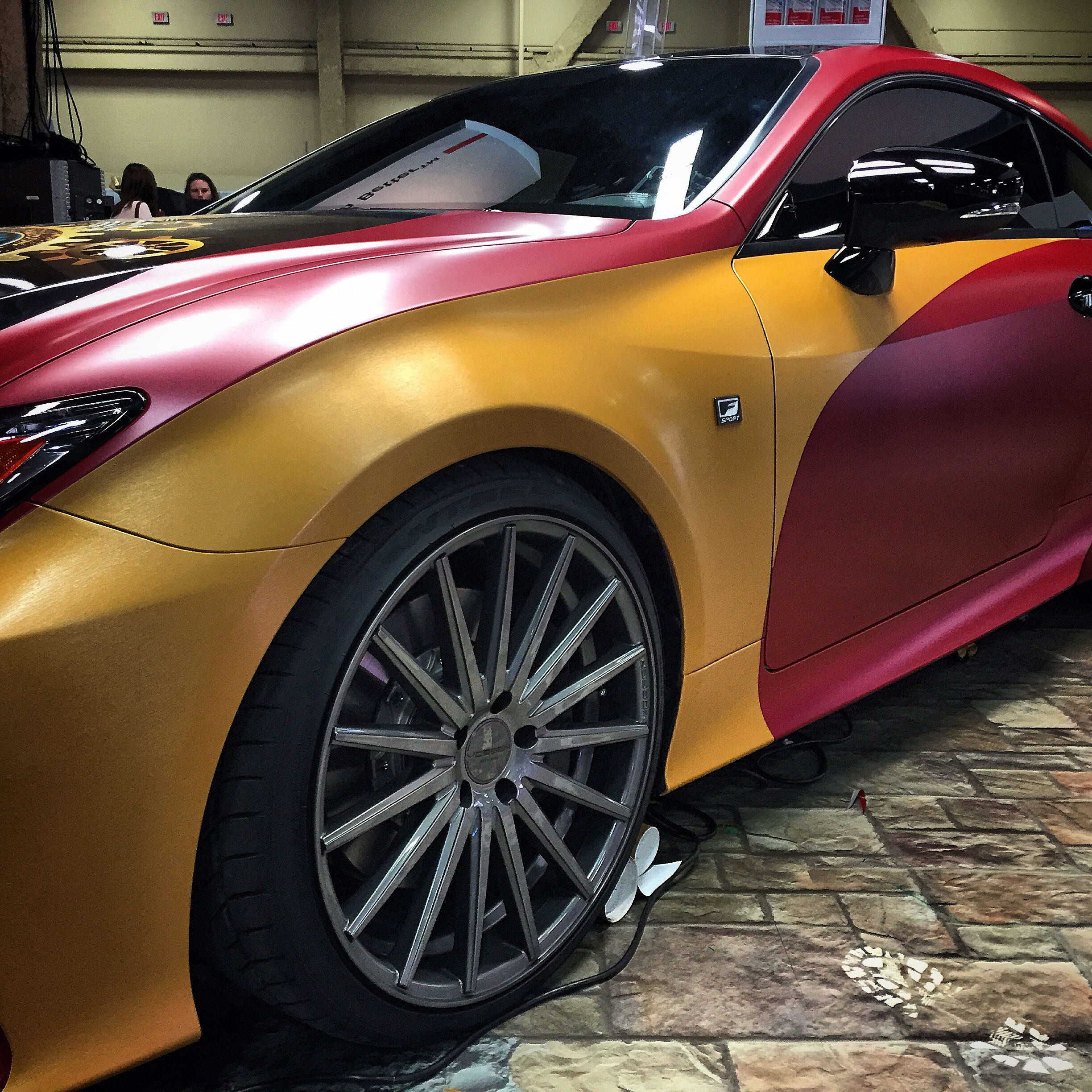 Lexus RC 350 F Sport wrapped in ORACAL 975 brushed gold