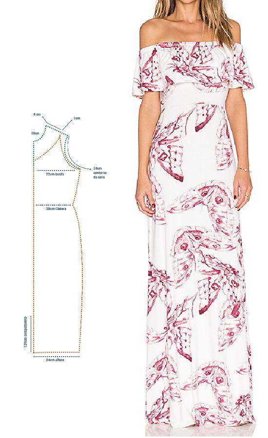 MOLDE VESTIDO SIGANIHA #modelagem, #moldes #costura #dicasdecostura ...