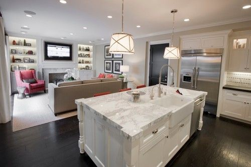 Kitchen Den Combo Love The Island This Is Perfection Open Kitchen And Living Room Open Plan Kitchen Living Room Small Open Plan Kitchens
