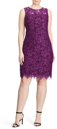 Lauren Ralph Lauren Corded Lace Sheath Dress (Plus Size) | Nordstrom
