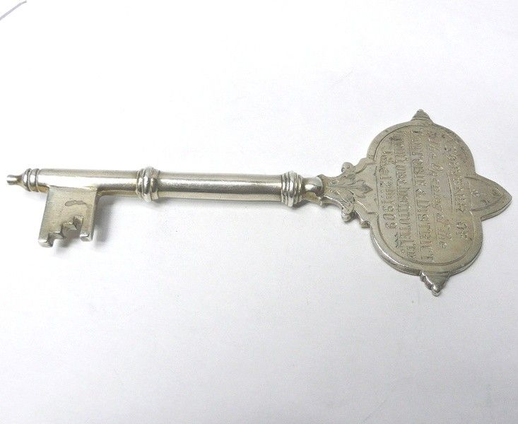 Antique Silver Presentation Key by WALKER & HALL - waxantiques
