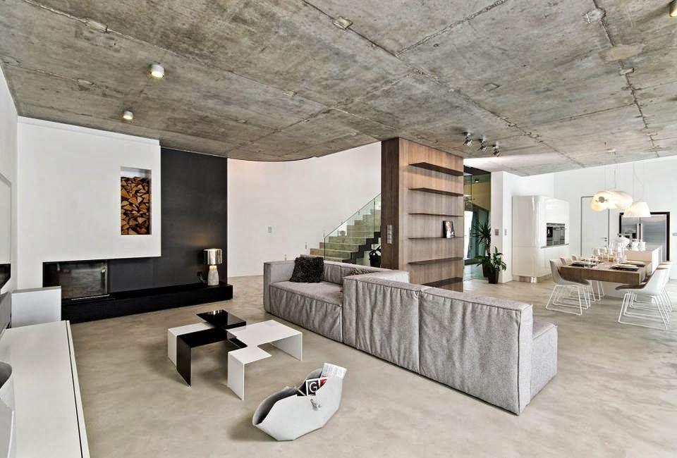 Concrete ceiling | Concrete interiors, Apartment interior ...