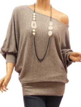 2346beabc5 Amazon.com  Patty Women On   One Shoulder Wool Blend Batwing Sleeve Jumper  Top  Clothing
