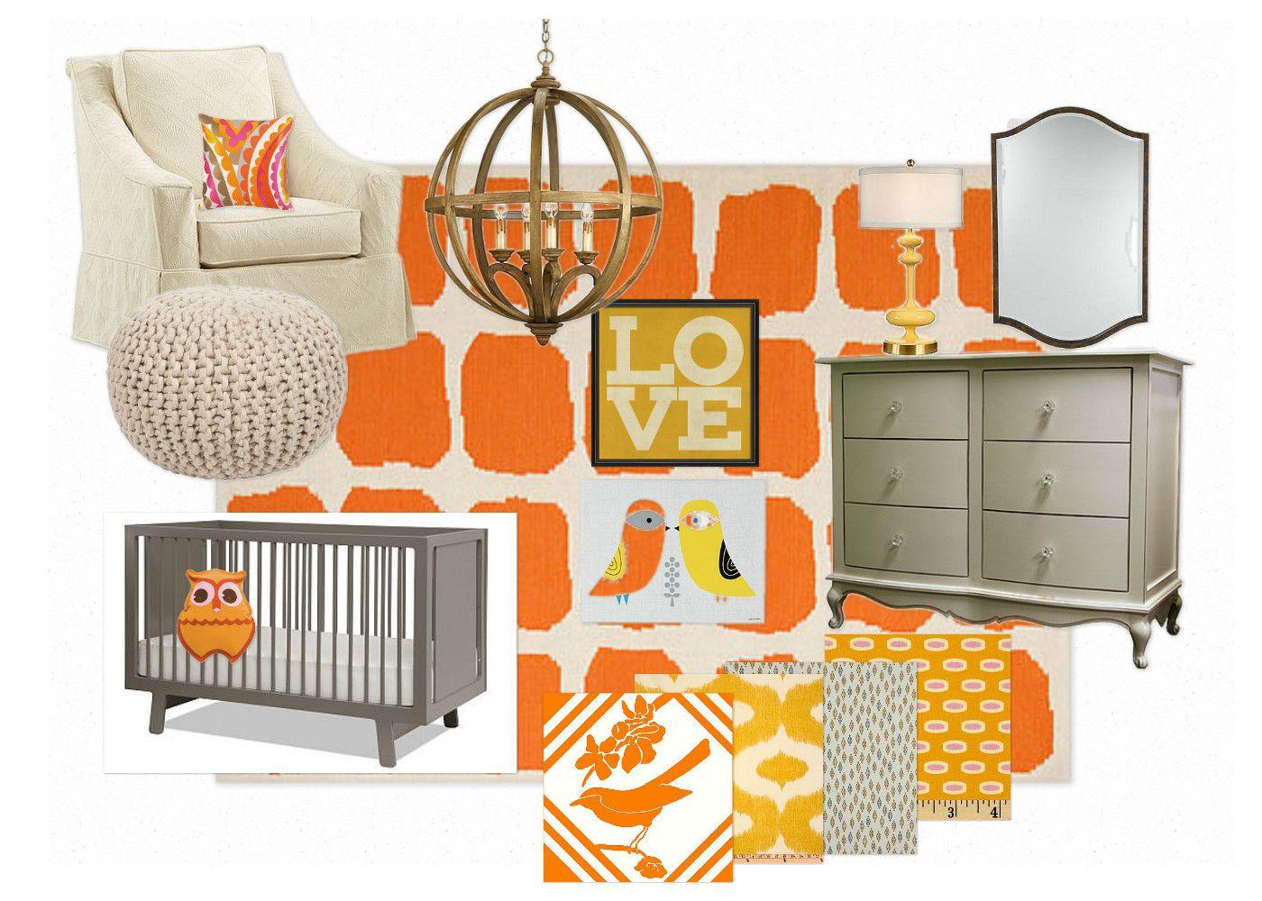 adorned abode: Bright and cheery gender neutral nursery  #genderneutralnursery #orangeandgraynursery #nurserymoodboard #brightandcheerynursery #colorfulnursery