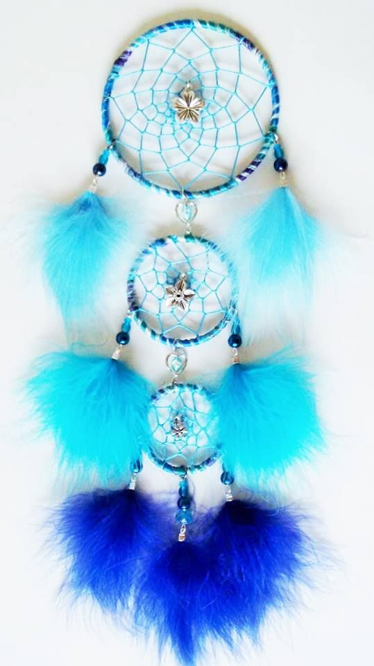 3 Tiered Dream Catcher - handmade with wool yard, metal charms, glass beads, blue marabou feathers. Hoops are 4, 3, 2.5 inch. You can see all my designs at https://www.facebook.com/pages/Dreamscape/471890606282556