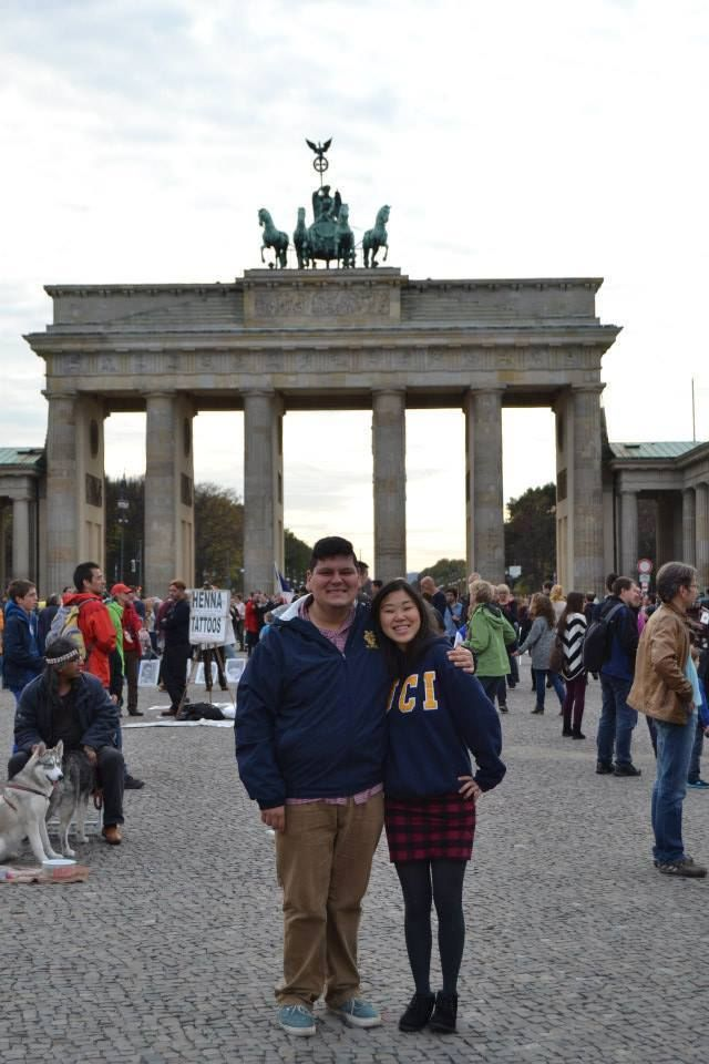 Ashley and Antonio at the Brandenburg Gate in Germany