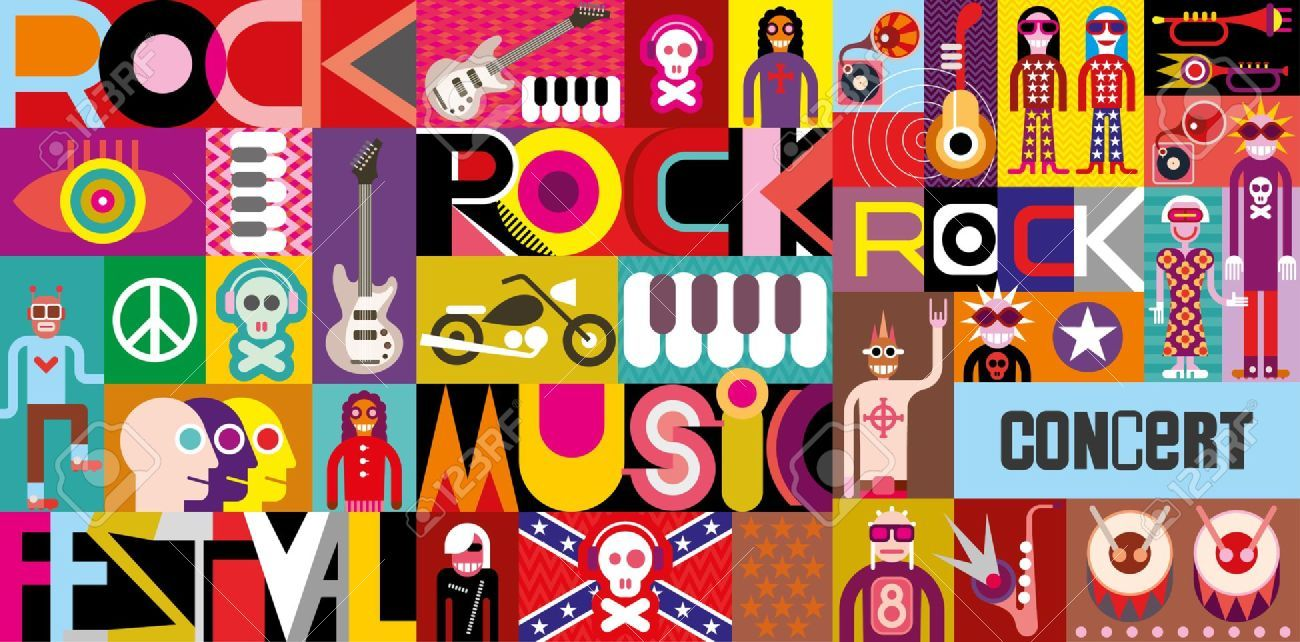 Rock Concert Poster Musical Collage Vector Illustration With Concert Posters Rock Concert Poster Stickers