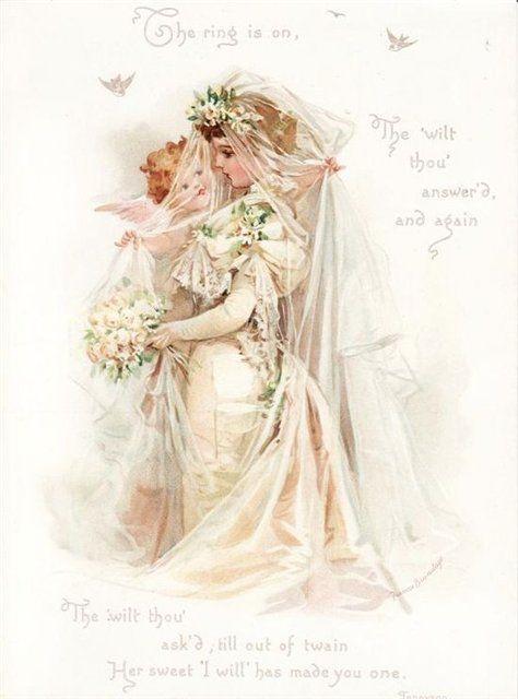 Старинная открытка свадебная, картинках