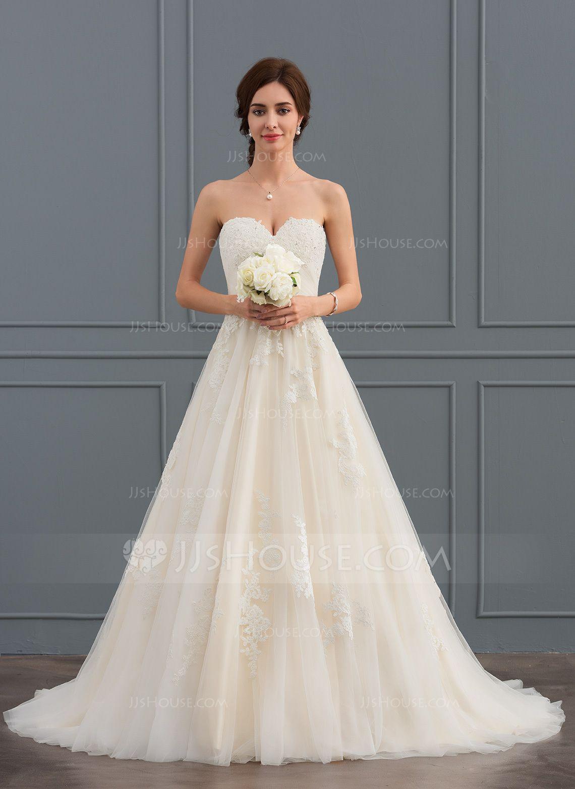 Jjshouse Ball Gown Sweetheart Court Train Tulle Wedding Dress With Ruffle Beading Plus Wedding Dresses Wedding Dresses Lace Weddings