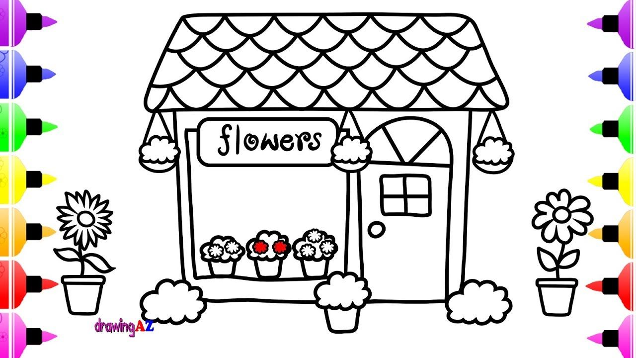 How to Draw Cute Flower Shop for Kids - Children\'s Coloring Page ...