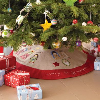 Nativity Christmas Tree Skirt - this will hide the bottom of the
