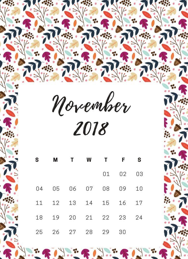 November iPhone 2018 Calendar. calendar2018