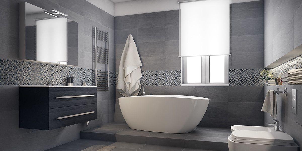 Come arredare un bagno moderno grande con vasca e doccia for Parete vasca da bagno leroy merlin