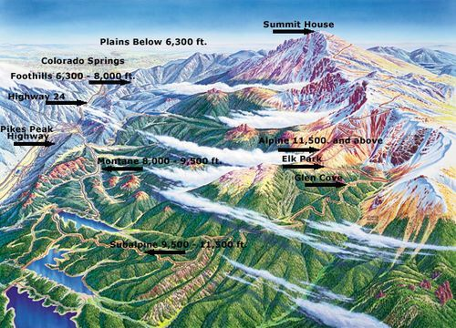 Pikes Peak National Forest, Colorado--map of Pikes Peak climb ...