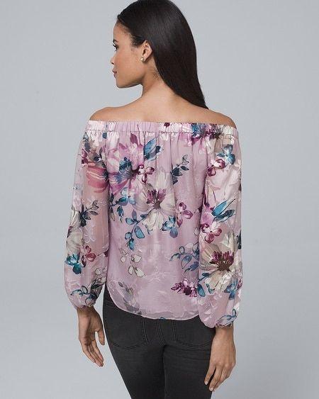 e033c3bd5d22a9 Women s Silk-Blend Floral Burnout Off-the-Shoulder Blouse by White House  Black Market