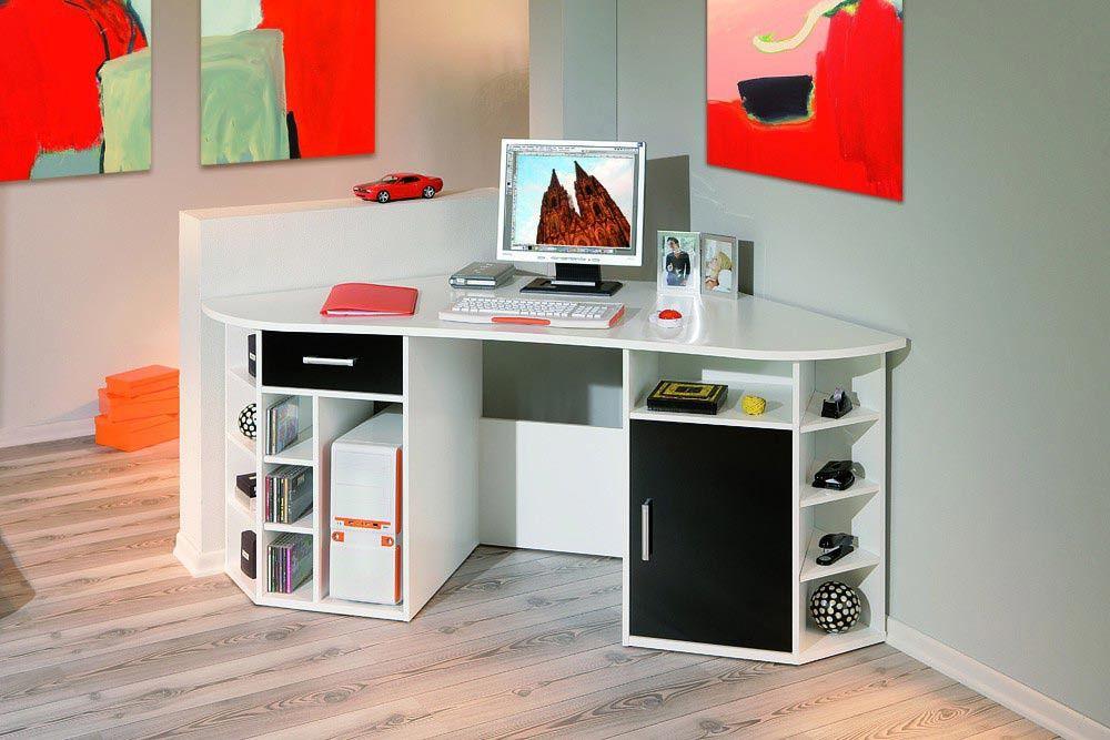 Bureau d angle contemporain blanc et noir fabrice bureau moins