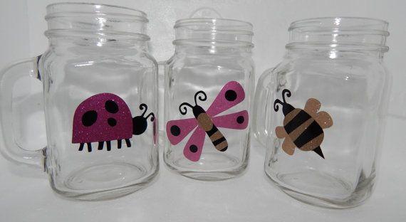 Set of Three 16 Oz. Glitter Spring Mason Jar Mugs by jayleecrafty, $30.00