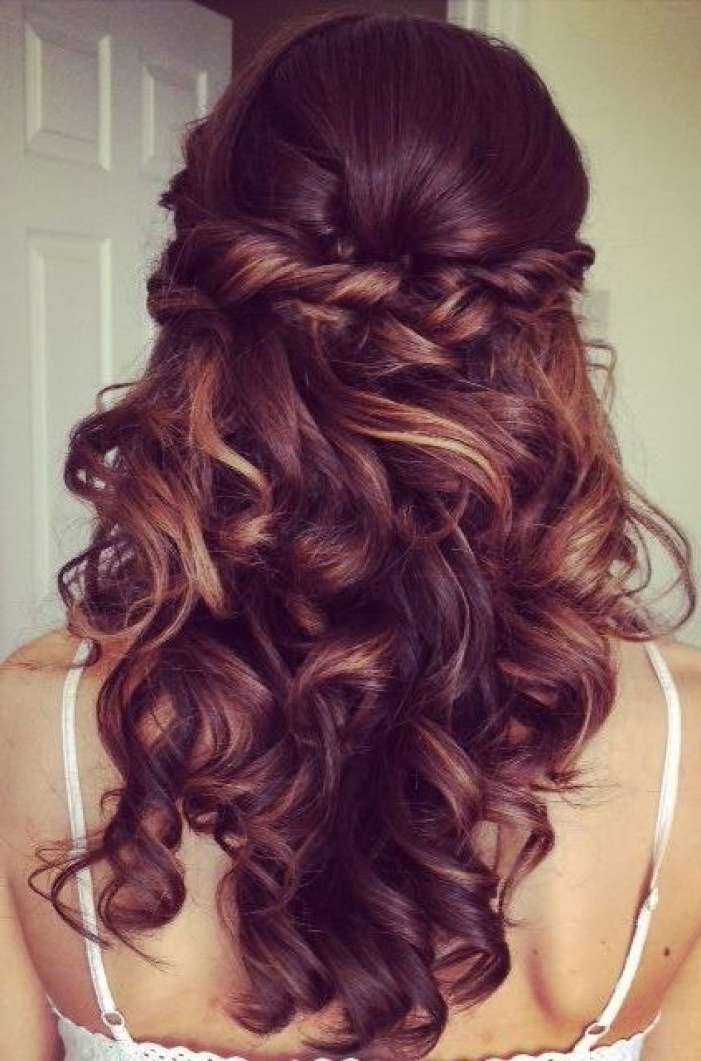Catchy bridal hairstyles curly hair wedding formal down half up down