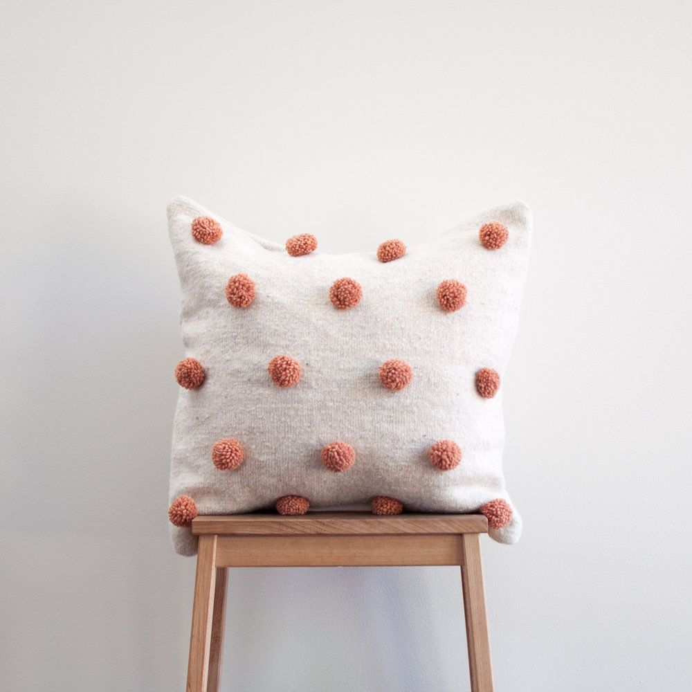 Wool pompom pillow cover melon u xinh u co big girl room