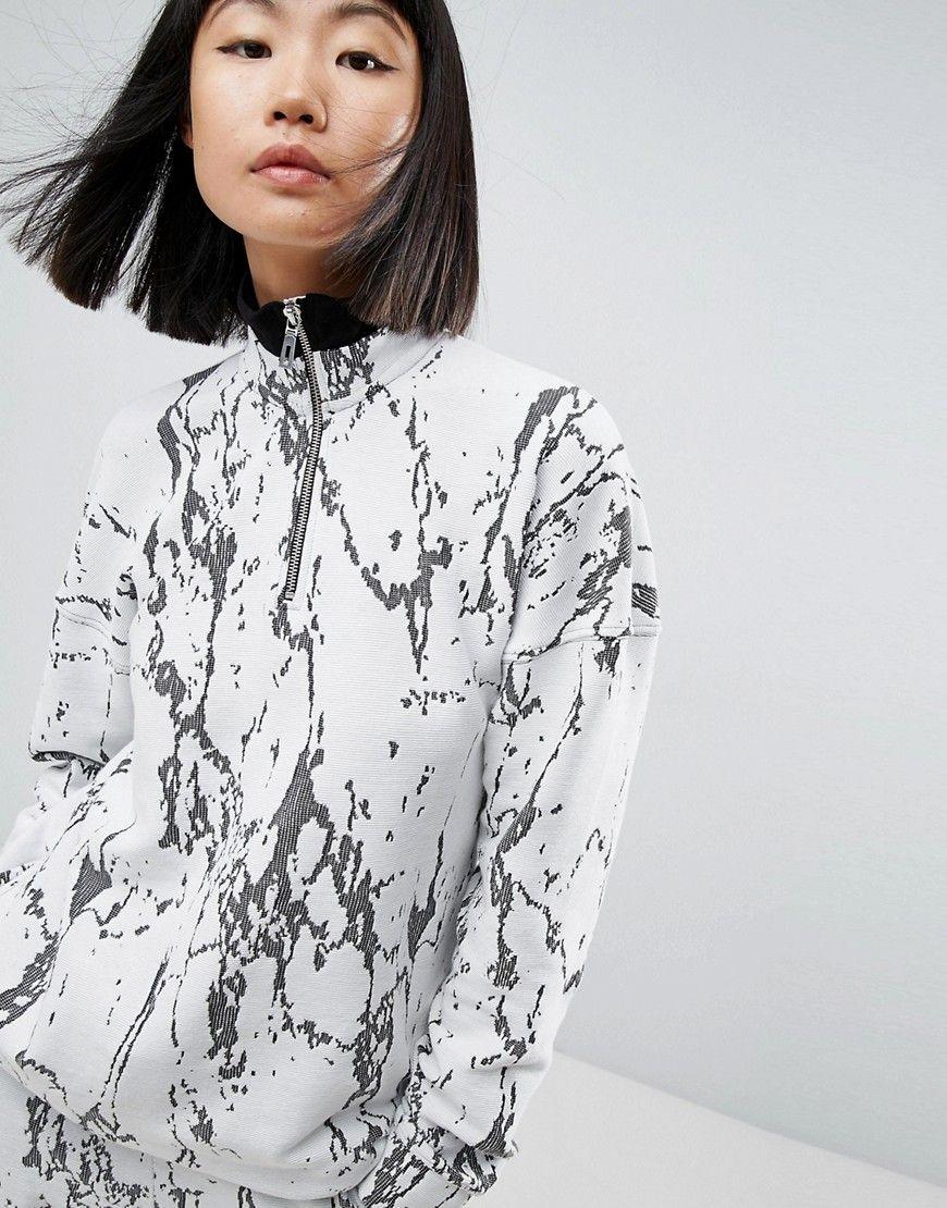 c1da0d1c ASOS WHITE Marble Textured Funnel Neck Sweat - Multi | Zipperettes ...