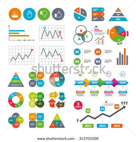 Business Data Pie Charts Graphs Hand Icons Like And Dislike Thumb
