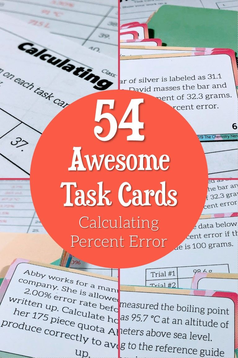 54 Awesome Task Cards Calculating Percent Error Task Cards Teaching Chemistry Learning Stations