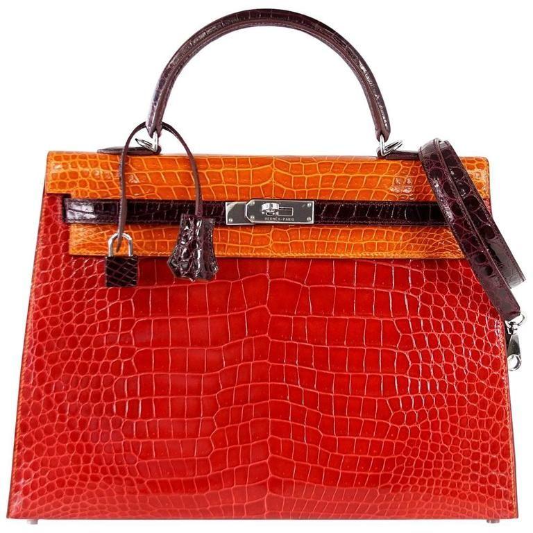 8249c8c4de HERMES Kelly 35 Bag Tri Color Horseshoe Porosus Crocodile Palladium For  Sale at 1stdibs