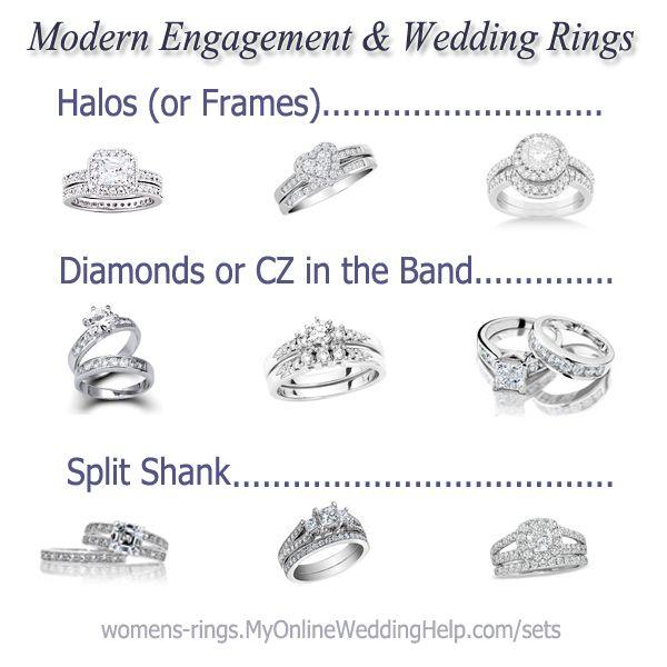 Modern Engagement And Wedding Rings Wedding Rings Engagement Engagement Wedding Rings Halo