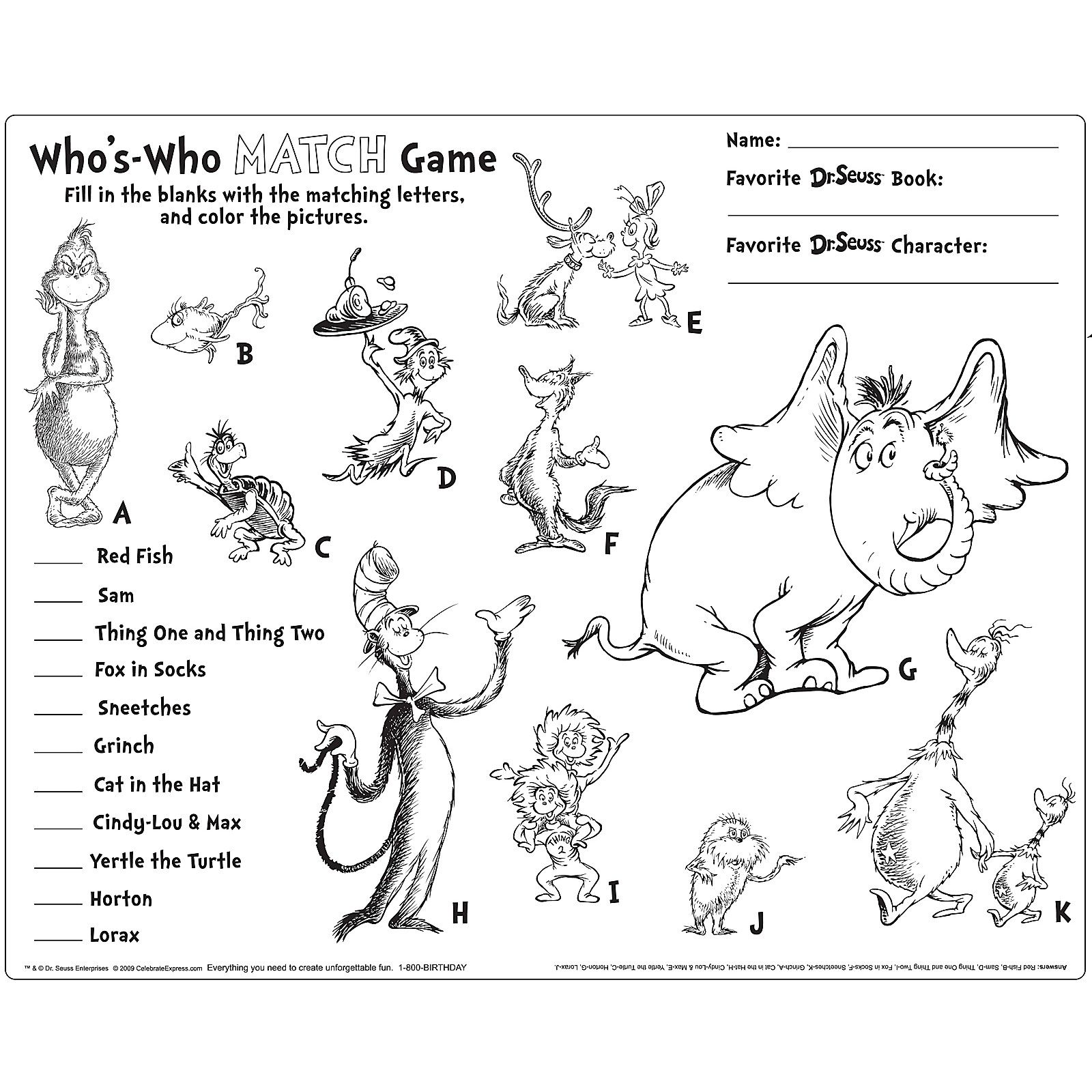 Dr Seuss Activity Placemats