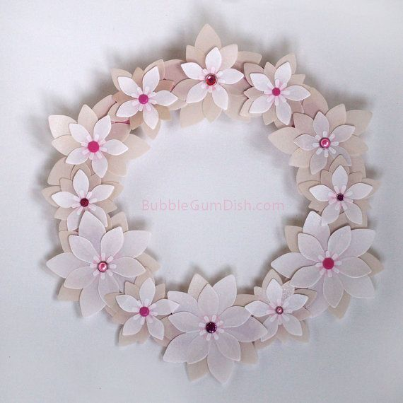 Paper spring wreath pearly offwhite vellum by bubblegumdish 3200 items similar to paper flowers wreath spring paper flowers 12 inch on etsy mightylinksfo