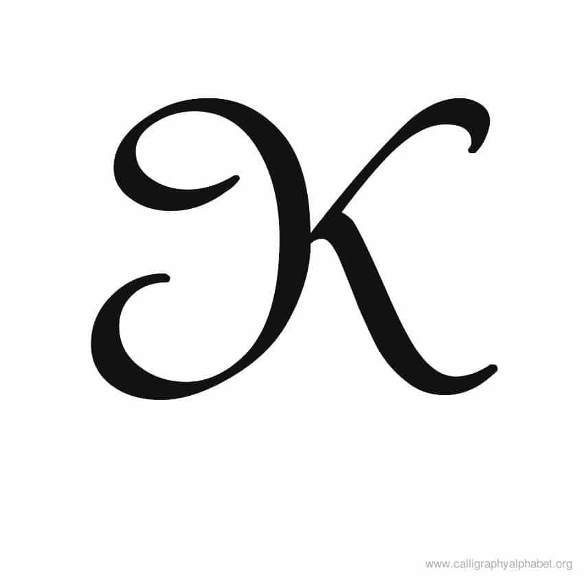 Calligraphy Alphabet Uppercase K Calligraphy Alphabet Cursive Fonts Alphabet Handwriting Styles