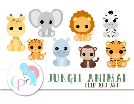 50 Off Jungle Animal Clipart Set Set Of 9 Safari Animal Clipart Cute Animal Clipart Instant Baby Animal Art Animal Clipart Cute Animal Clipart