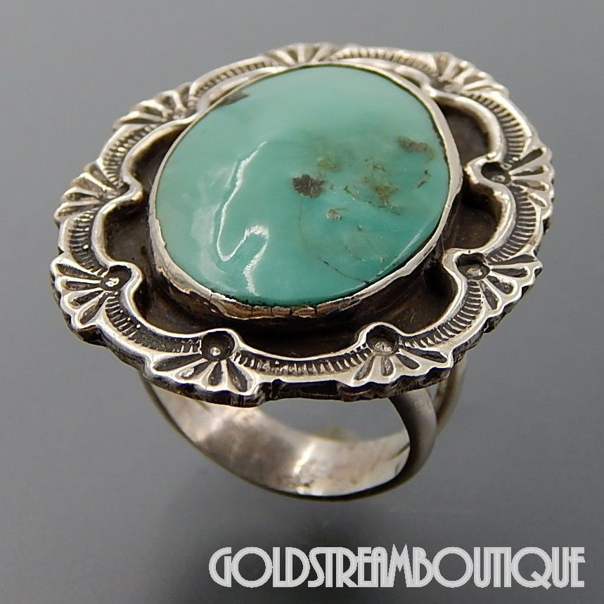 Melvin Thompson Navajo Sterling Silver Turquoise Stamp Work Ornate Oval Ring Turquoise