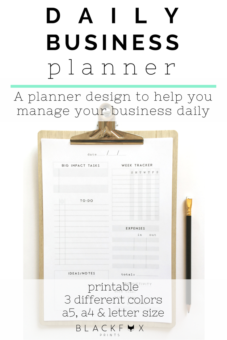 daily business planner office printable planner inserts digital
