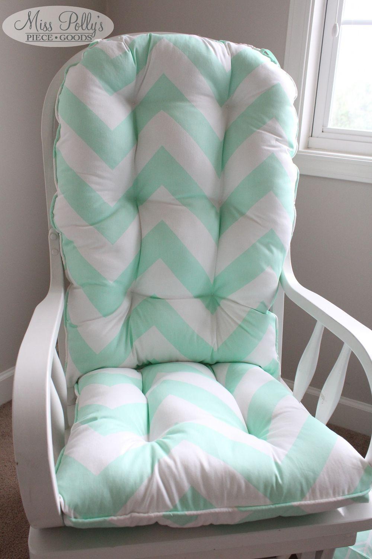 Mint Chevron Glider/rocking Chair Cushions By MissPollysPieceGoods  Https://www.etsy