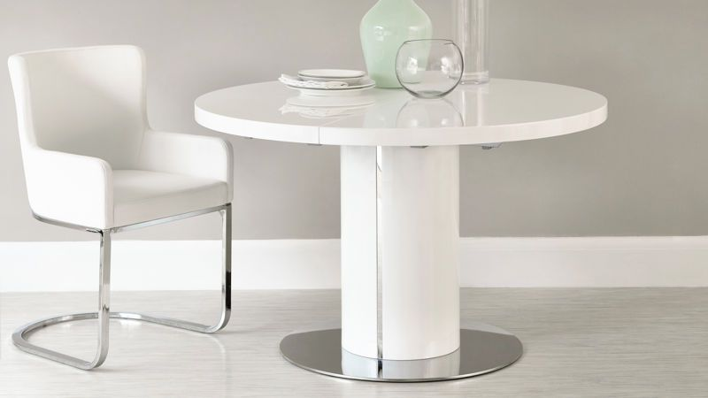 Curva Round White Gloss Extending Dining Table Round Extendable