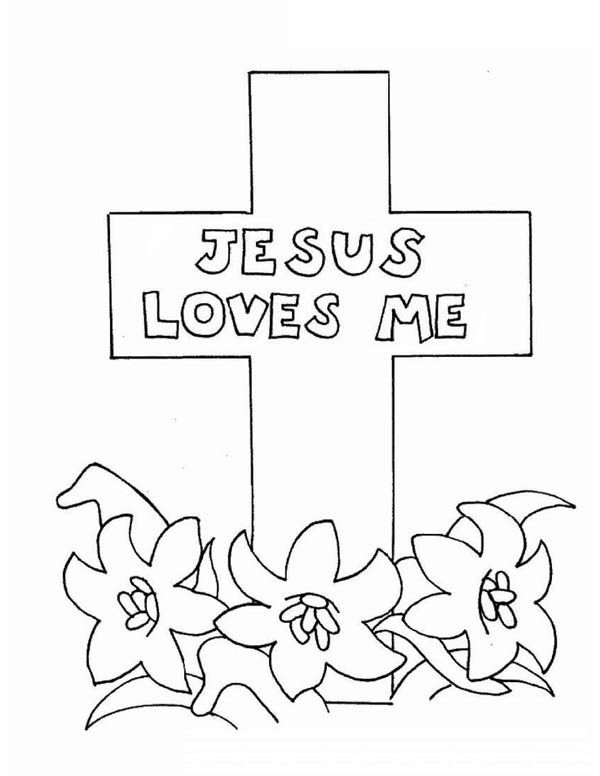 Jesus Loves Me Jesus Love Me Cross Coloring Page