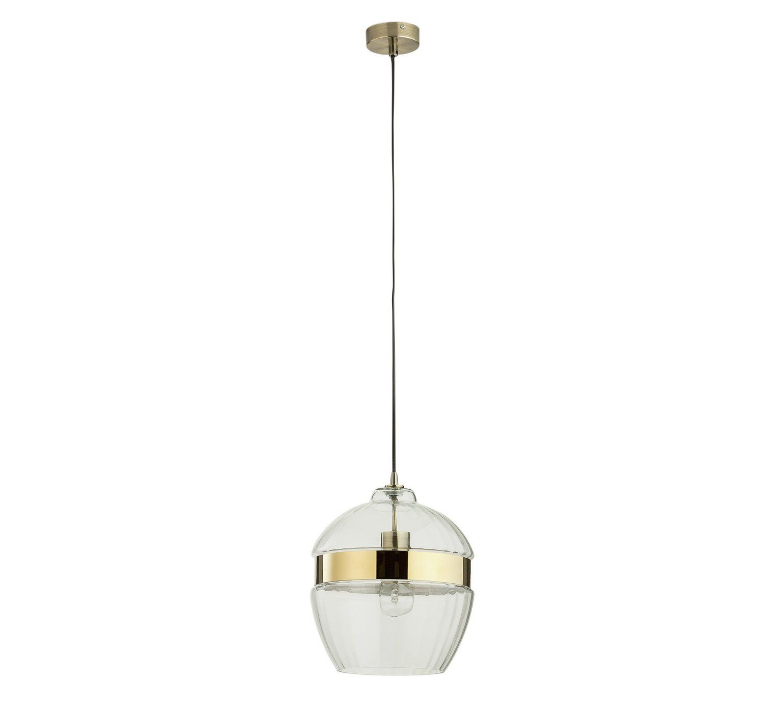Buy Heart Of House Rutland Ribbed Glass And Brass Pendant