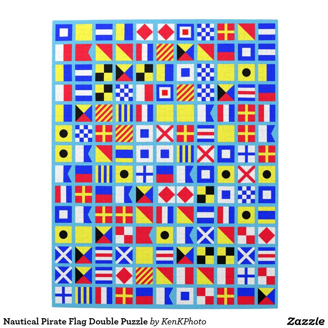 Nautical Pirate Flag Double Puzzle - See if you can solve this one.  Don't walk the plank!