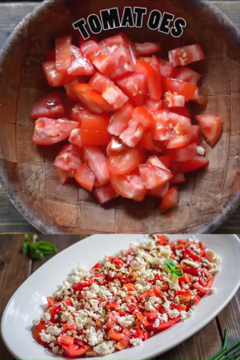 Tasty and  simple Tomato Feta Salad made with fresh herbs, succulent tomatoes, creamy feta cheese and a touch of balsamic reduction. #tomatoes #feta #salad #mediterranean #foodsides