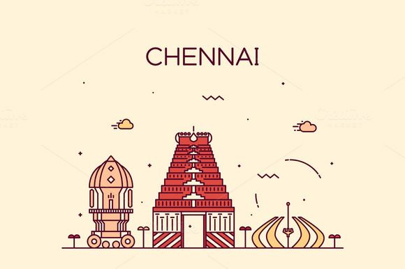 Chennai skyline (India) by grop on Creative Market
