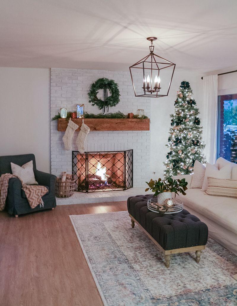 Navy And Grey Living Room Christmas