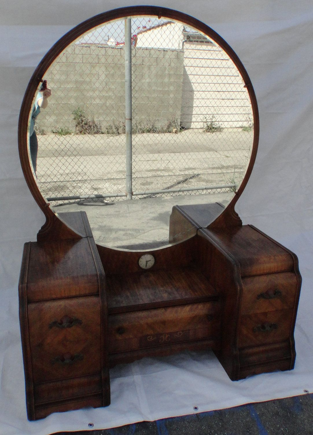 Art Deco Waterfall Vanity Dressing Table With Mirror Los