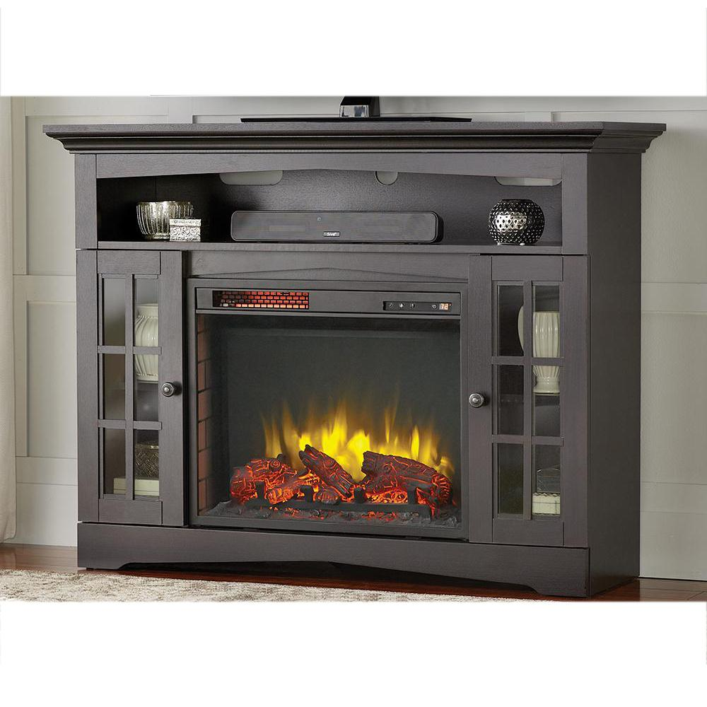 Home Decorators Collection Avondale Grove 48 In Tv Stand Infrared Electric Fireplace In Aged Electric Fireplace Tv Stand Fireplace Tv Stand Electric Fireplace