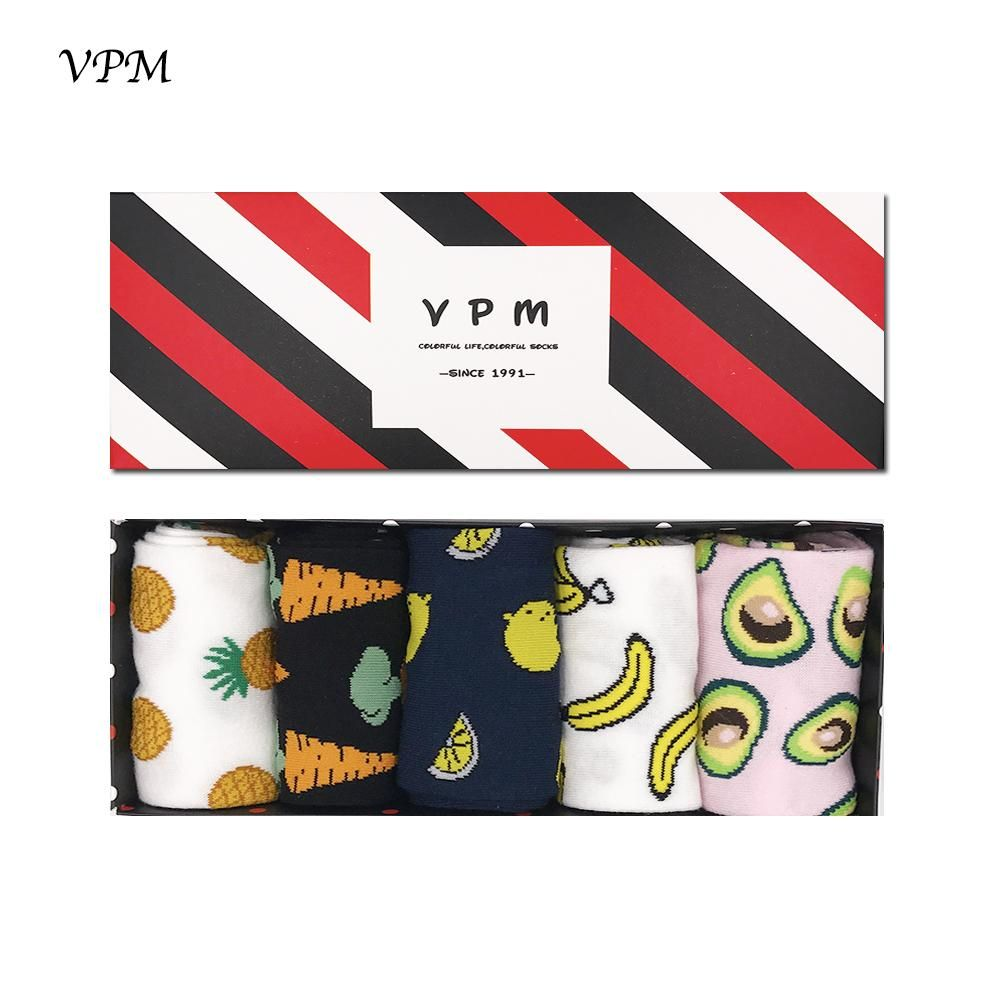 Photo of Vpm Brand Autumn Unisex Cotton Socks Colorful Men Women Cartoon Style Pull On 5 Pairs / Lot In Gift Box