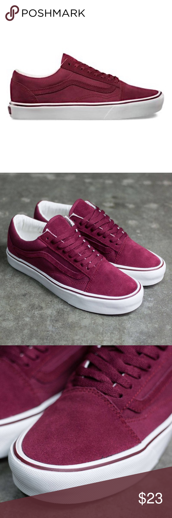 20ded55d7a6 Burgundy  Maroon Old Skool Vans Lite Mono Worn many times but in good  condition
