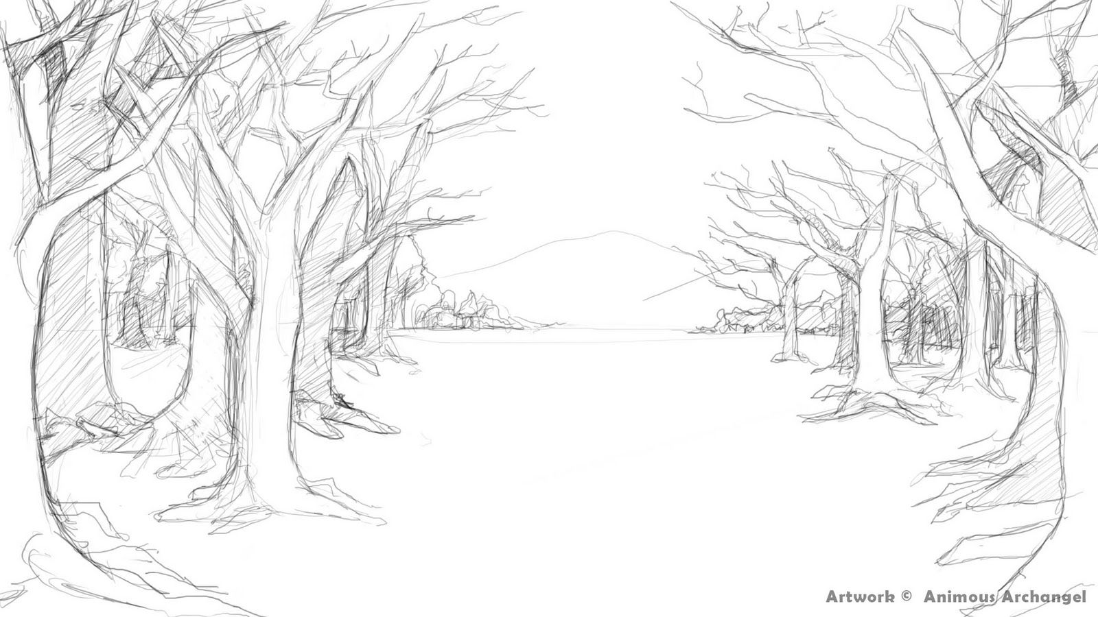 Forest Coloring Pages Landscape Drawings Forest Drawing