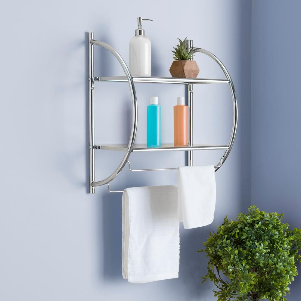 Home Basics 10 In W Hanging Steel 2 Tier Shelf In Chrome Bs10105 The Home Depot Home Basics Bathroom Shelves Hanging Bathroom Shelves