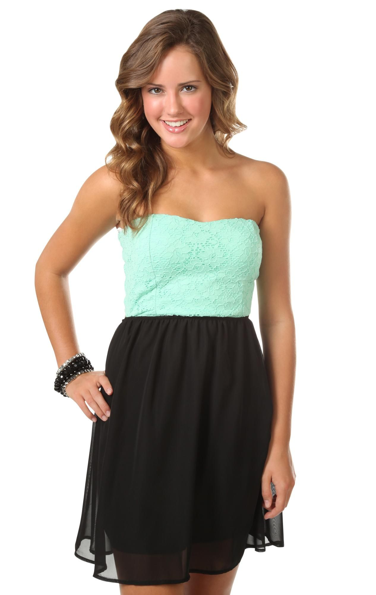 c3aa84c1f4 strapless lace color block a-line dress with bow back accent in mint green  and coral