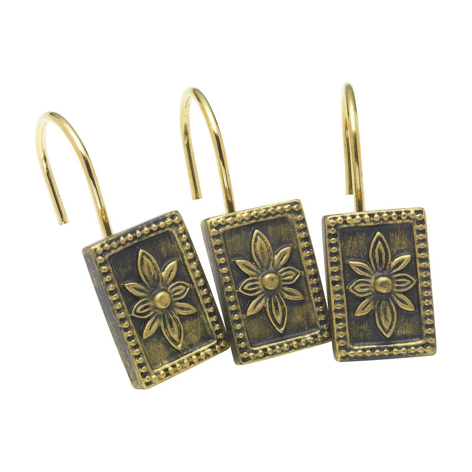 Carnation Home Fashions Carlisle Shower Curtain Hooks Antique Gold